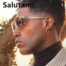 One Piece Square Men Sunglasses Luxury Brand Alloy Stripe Pi