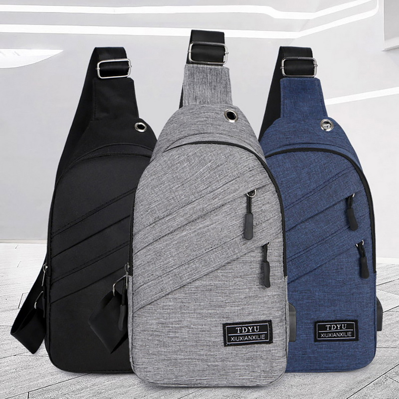 LOOZYKIT Crossbody Bags Men Zipper Solid Waist Bag Leather Shoulder Bags Chest Bag USB With Hole Back Handbag Packs Purse