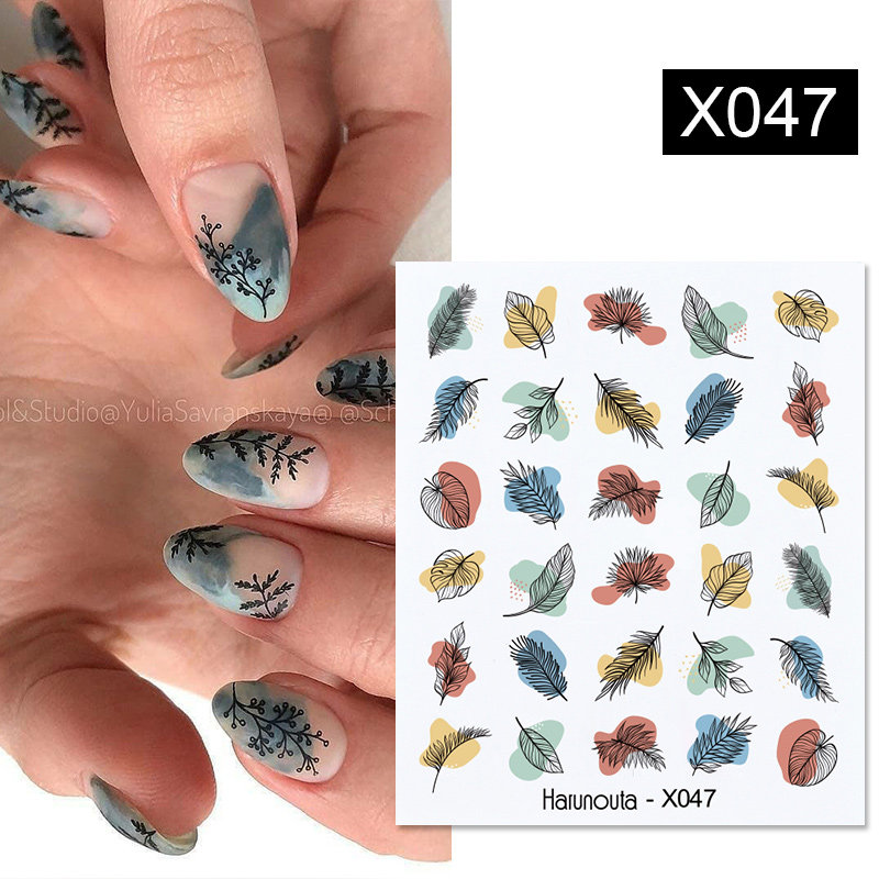 Harunouta Nails Sticker Nail Art Decorations Flowers Leaves Decals Water Transfer Sliders Woman Face Fruit Foil Manicures Wraps