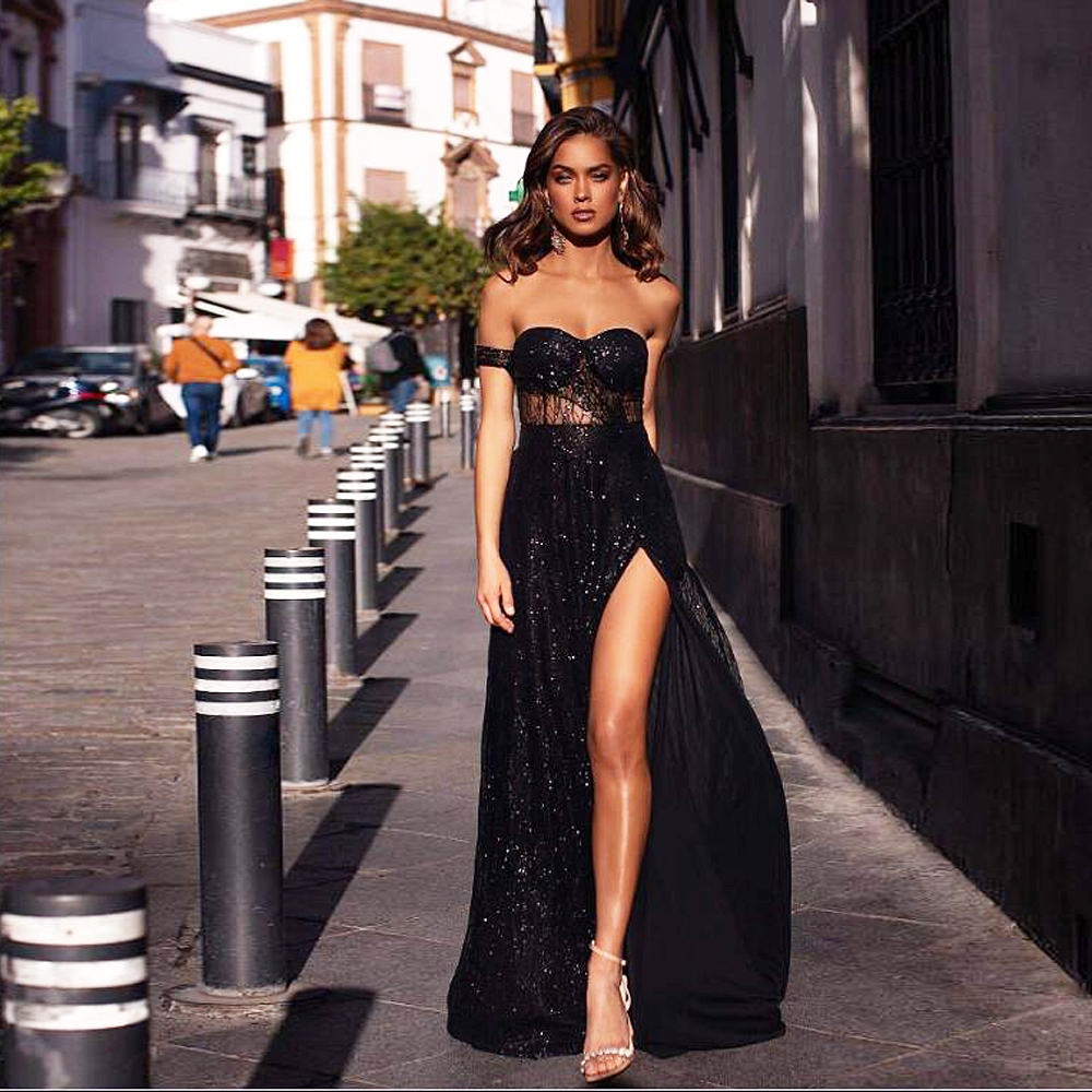 Strapless Black Glittered Maxi Dress Off The Shoulder Hollow Out Padded Split Leg Backless Party Dress Gown