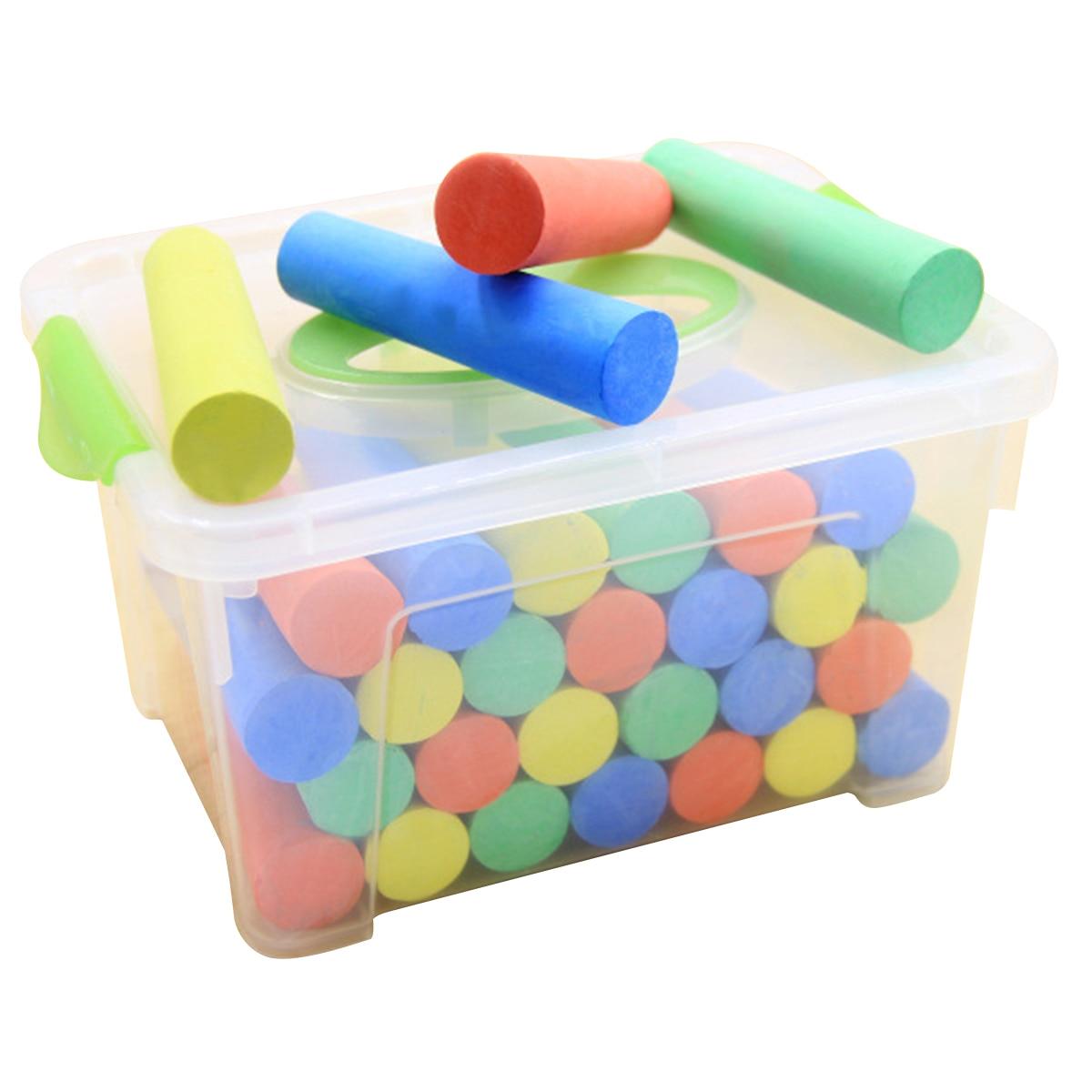 50pcs Big Fat Pastel Storage Box Sidewalk Chalk Set With Carry Box Washable Colored Chalk Makeup Tool Set