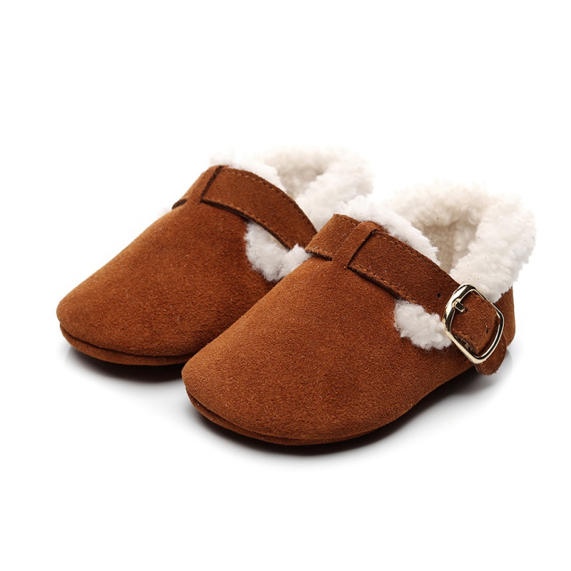 Baby Girls Shoes Plush Prewalker PU Toddler Girl Snow Boots Shoes Cotton Warm Newborn Baby Shoes Autumn Winter