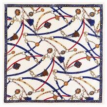 POBING Luxury Brand Plain Silk Scarf Women Rope Chain Print Square Scar