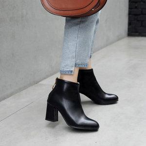 Image 2 - ZawsThia PU yuvarlak ayak yeşil blok yüksek topuklu kadın stilettos pompaları moda yarım çizmeler kadınlar için martin çizmeler kadın ayakkabı