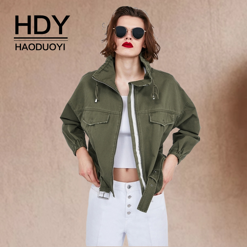 HDY Haoduoyi Women 39 s New Fashion Casual Autumn Tide Tops Leisure Simplicity Coat Work Clothes Loose DenimTooling Short Jacket in Jackets from Women 39 s Clothing