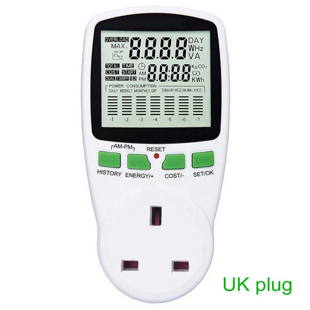 Digital LCD Energy Meter Wattmeter Wattage Electricity Kwh Power Meter EU French US UK AU Measuring Outlet Power Energy Analyzer|Energy Meters| |  - title=