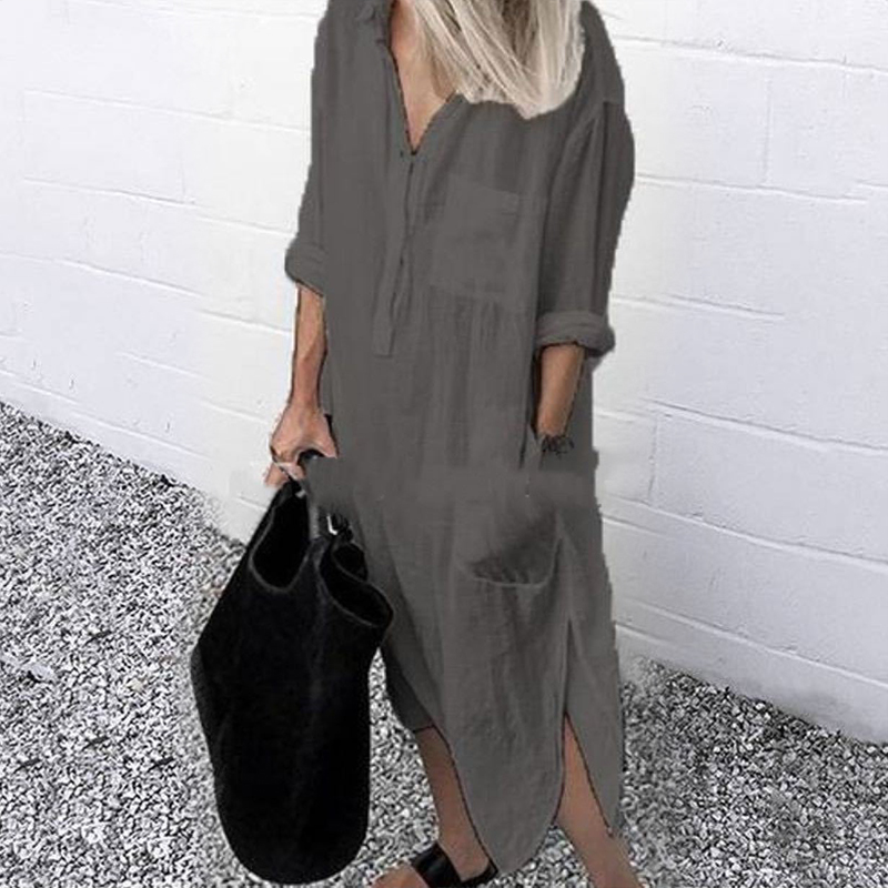 2021 Lady Elegant Long Shirt Dress Fashion Spring/Autumn Long Sleeve Casual Simple Pure Color S-4XL Women Dress 5