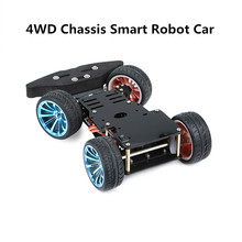 4 Wheel DIY Servo Robot Car 4WD Chassis Smart Car for Arduino Car Platform with Metal Servo Bearing Kit Steering Gear Control
