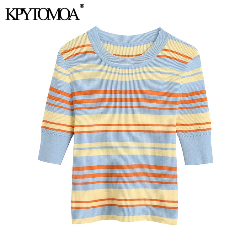 KPYTOMOA Women 2020 Sweet Fashion Color Striped Knitted Blouses Vintage O Neck Short Sleeve Stretch Slim Female Shirts Chic Tops