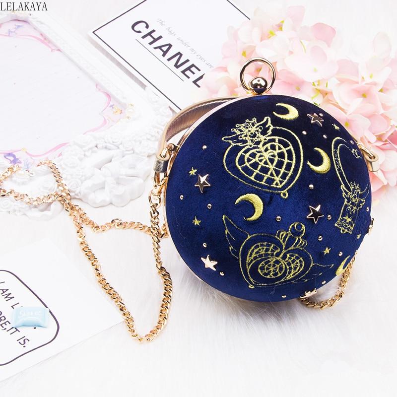 New Arrival Anime Printed Sailor Moon Pu Creative Spherical Cartoon Girls Fashion Velvet Shopping Crossbody Shoulder Bag Handbag