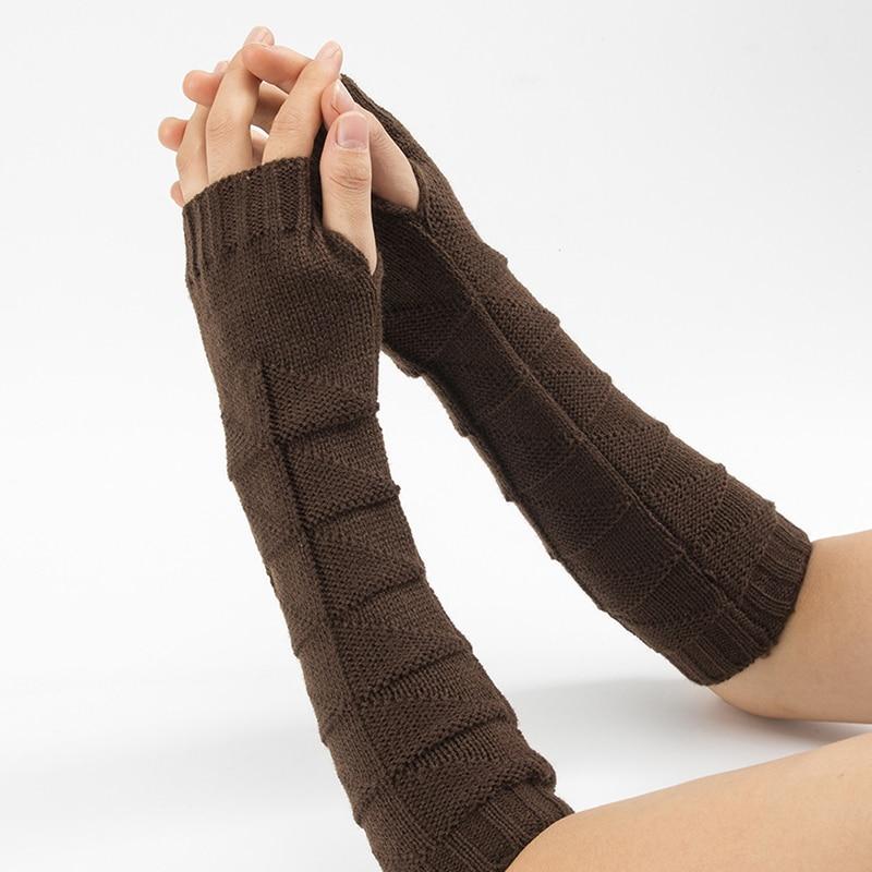 Новинка, шерстяные перчатки с полупальцами, мужские и женские, вязаные, теплые, без пальцев, длинные, вязаные, однотонные, модные, женские, ге...