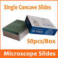 50pcs Reusable Laboratory Educational Single Concave Microscope Blank Glass Slides for Medical Middle School Students