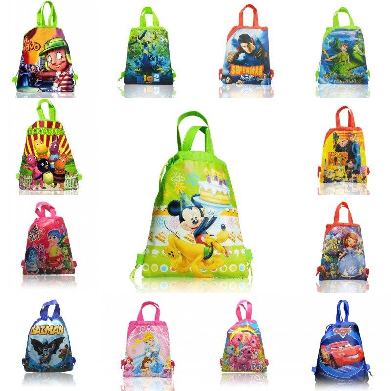 1 шт., рюкзаки на шнурке, сумки 34*27 см, Мультяшные Детские нетканые сумки для хранения для дома, школы, шоппинга, Подарочная сумка для обуви