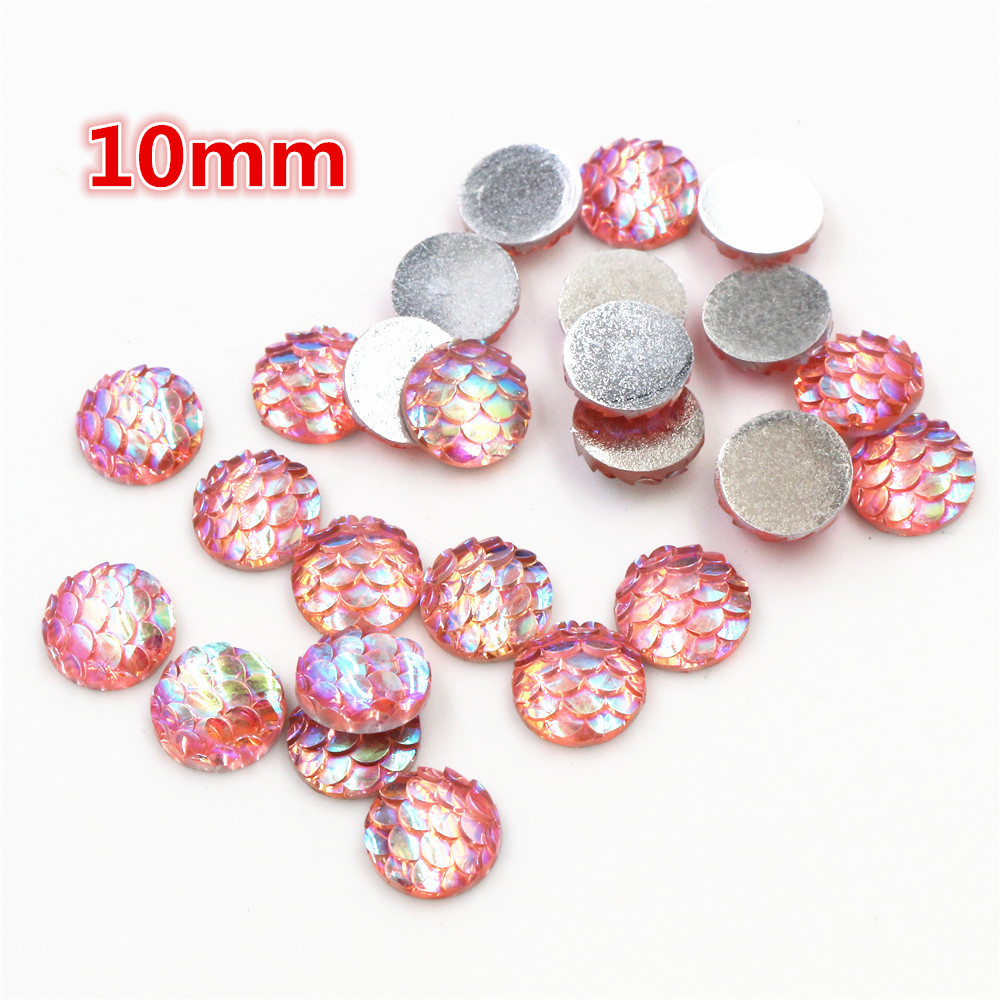 10mm 40pcs/Lot Pink AB Colors Fish Scales Style Flat Back Resin Cabochons For Bracelet Earrings Accessories-O2-15