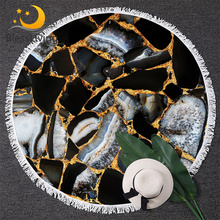 BlessLiving Marble Stone Large Round Beach Towel for Adults Beach Blanket Abstract Beach Throw Marbled Modern