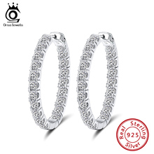 ORSA JEWELS 100% Real 925 Women Hoop Earrings Full Zircon 34 MM Sterling Silver Circle Earrings Fashion Refinement Jewelry SE221