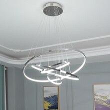 Modern LED pendant light For Living Room Bedroom Dining Room Chrome plating ring pendant lamp Ring80 60 40 20cm new