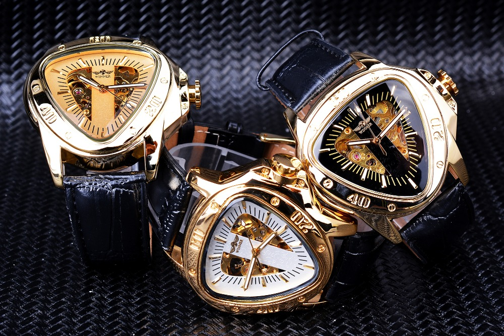 Hb3035200e5c74459a3948db5e5a31d73K Winner Steampunk Fashion Triangle Golden Skeleton Movement Mysterious Men Automatic Mechanical Wrist Watches Top Brand Luxury