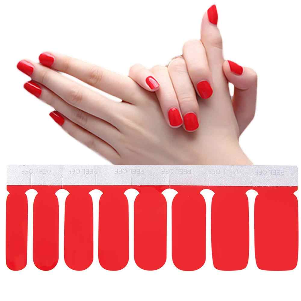 1 Sheet Nail Polish Strips Double Ended  Adhesive Pure Solid Color DIY Nail Sticker Wrap