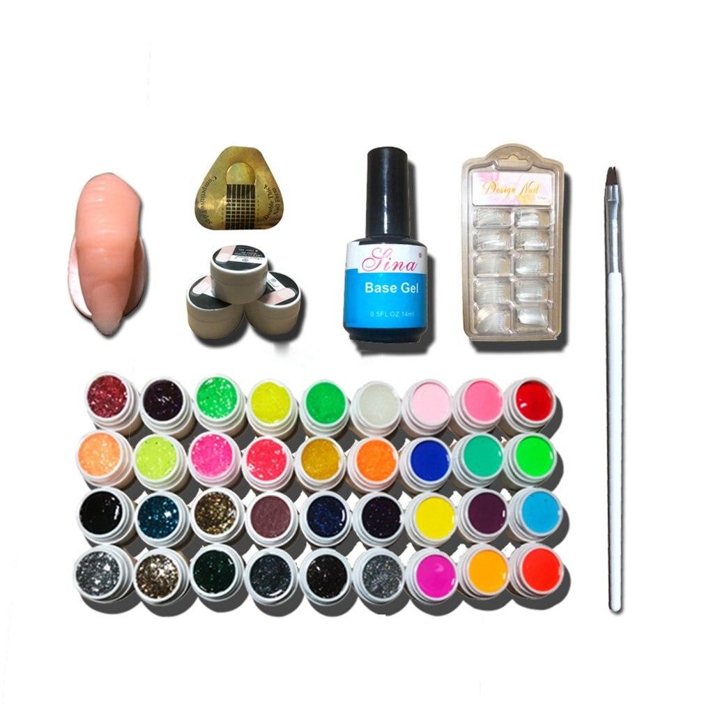 Full DIY Acrylic Art Kit Set Acrylic Powder Liquid Nail Tips Sticeker Nail Art 36 Color Nail Polish Glue Nail Set