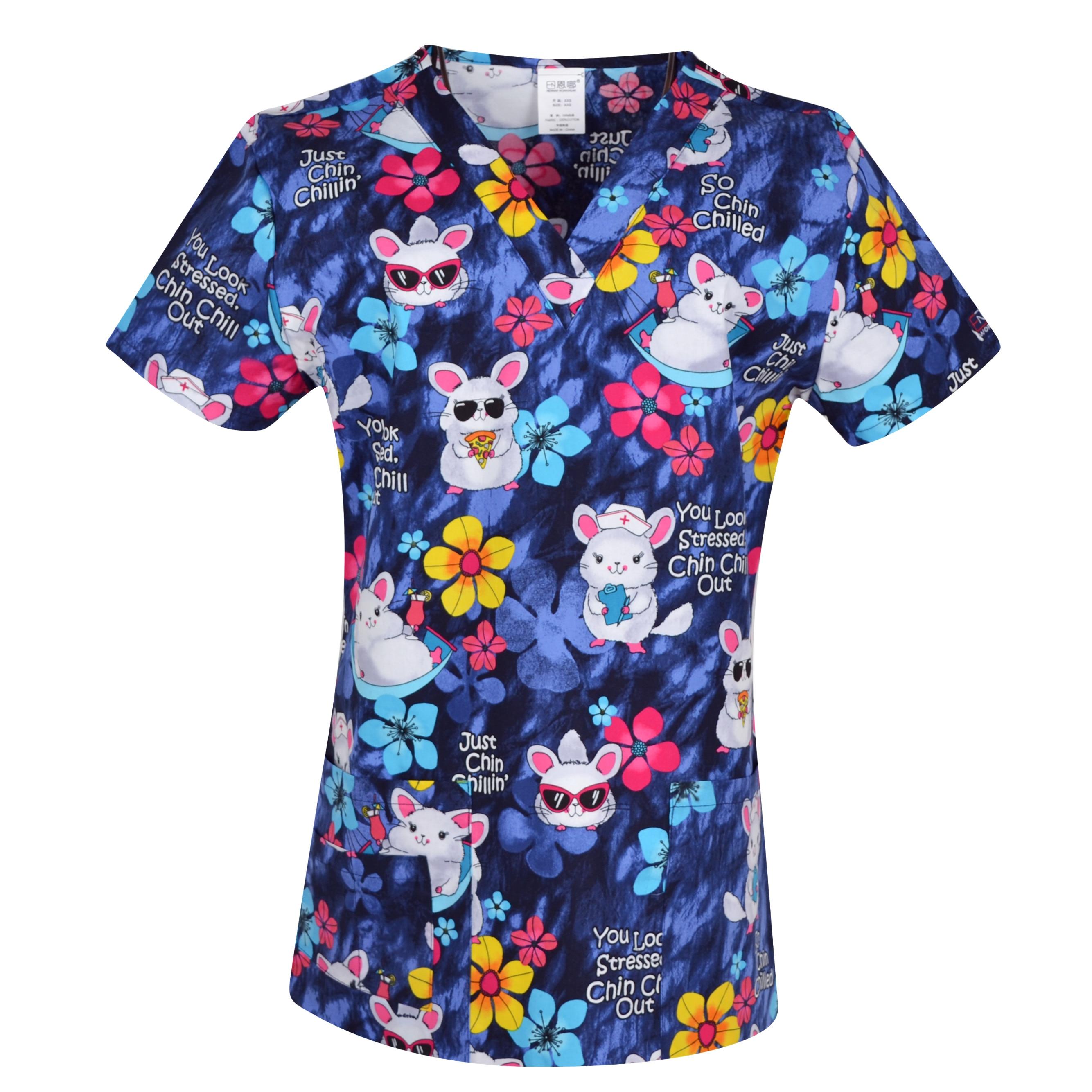 Hennar Women Print Medical Uniform Scrubs Tops Nurse Nursing Clinic Accessories Hospital Medico Clothing  Stretchy Medical Top