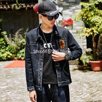 Men Cowboy Jacket Super Brand Korean Cowboy Shirt Youth Cowboy Top Slim Fit Elastic Force Cowboy Coat Work Clothes фото