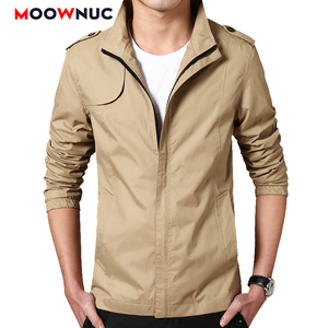 Męskie kurtki płaszcze płaszcz wiatroszczelna 2020 nowa, cienka wiosna jesień wiatrówki stałe męskie ubrania kobieta Hombre Casual MOOWNUC