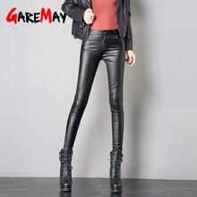 Эластичные флисовые зимние брюки кожаные modis женские повседневные теплые женские узкие бархатные брюки тонкие осенние кожаные брюки с высокой талией брюки женские обтягивающие плотные теплые кожаные брюки