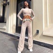 Calças de perna larga e topo de colheita duas peças conjunto manga longa outono sólido casial elegante gola alta minimalista clássico roupa para mulher