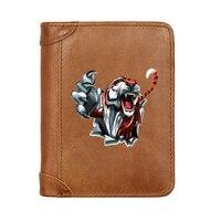 Vintage Luxus Gefährliche Tiger Männlichen Echtem Leder Geldbörsen Männer Brieftasche Kredit Visitenkarte Halter Geldbeutel Frauen Hohe Qualität