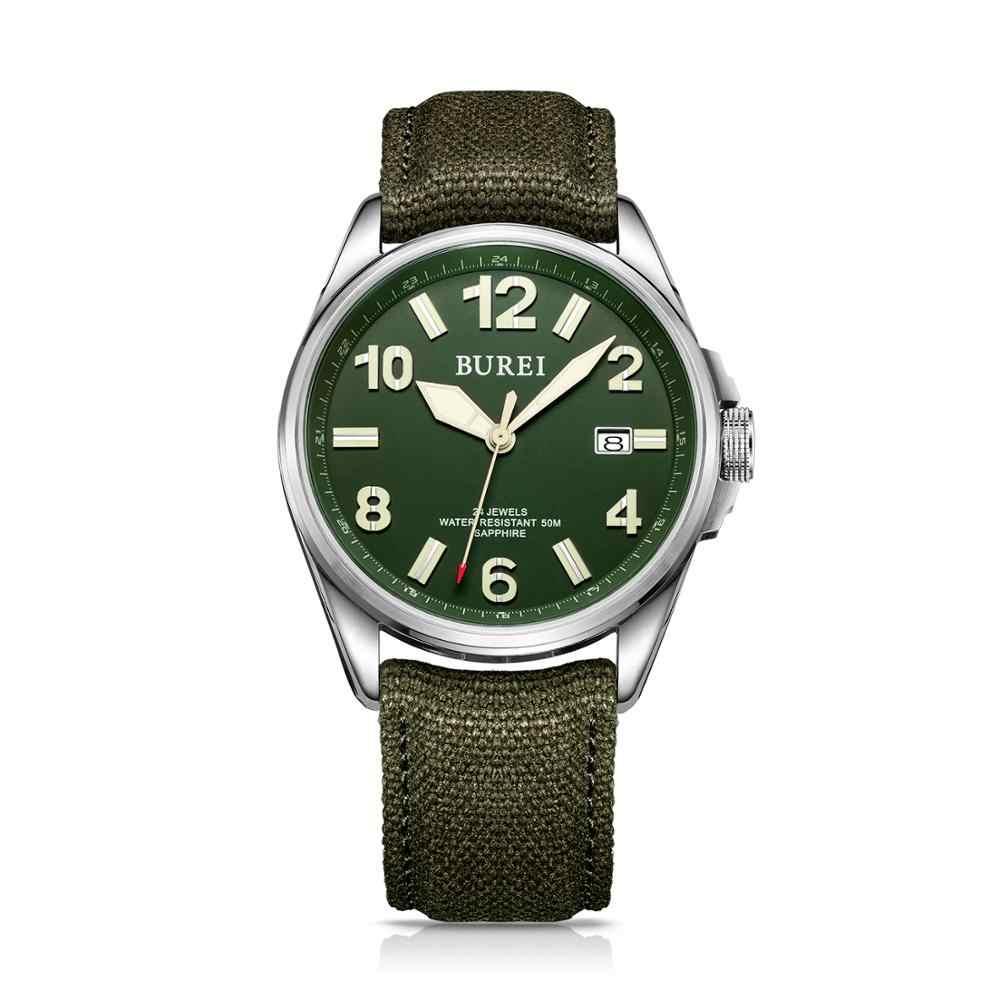 NH35 burei 高級ブランド男性腕時計自動サファイア軍事機械式メンズ腕時計カジュアルキャンバスストラップレロジオ masculino 2020