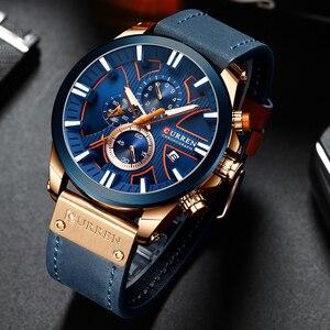 Image 5 - גברים שעון יד CURREN למעלה מותג יוקרה עור קוורץ שעון אופנה הכרונוגרף שעוני יד זכר ספורט צבאי שעון