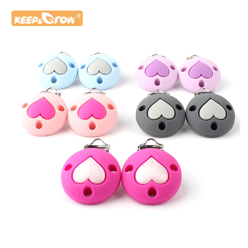 Keep&Grow 1pc Round Silicone Teether Heart Metal Silicone Rodent Accessories DIY Baby Teething Necklace Pendant Clamp