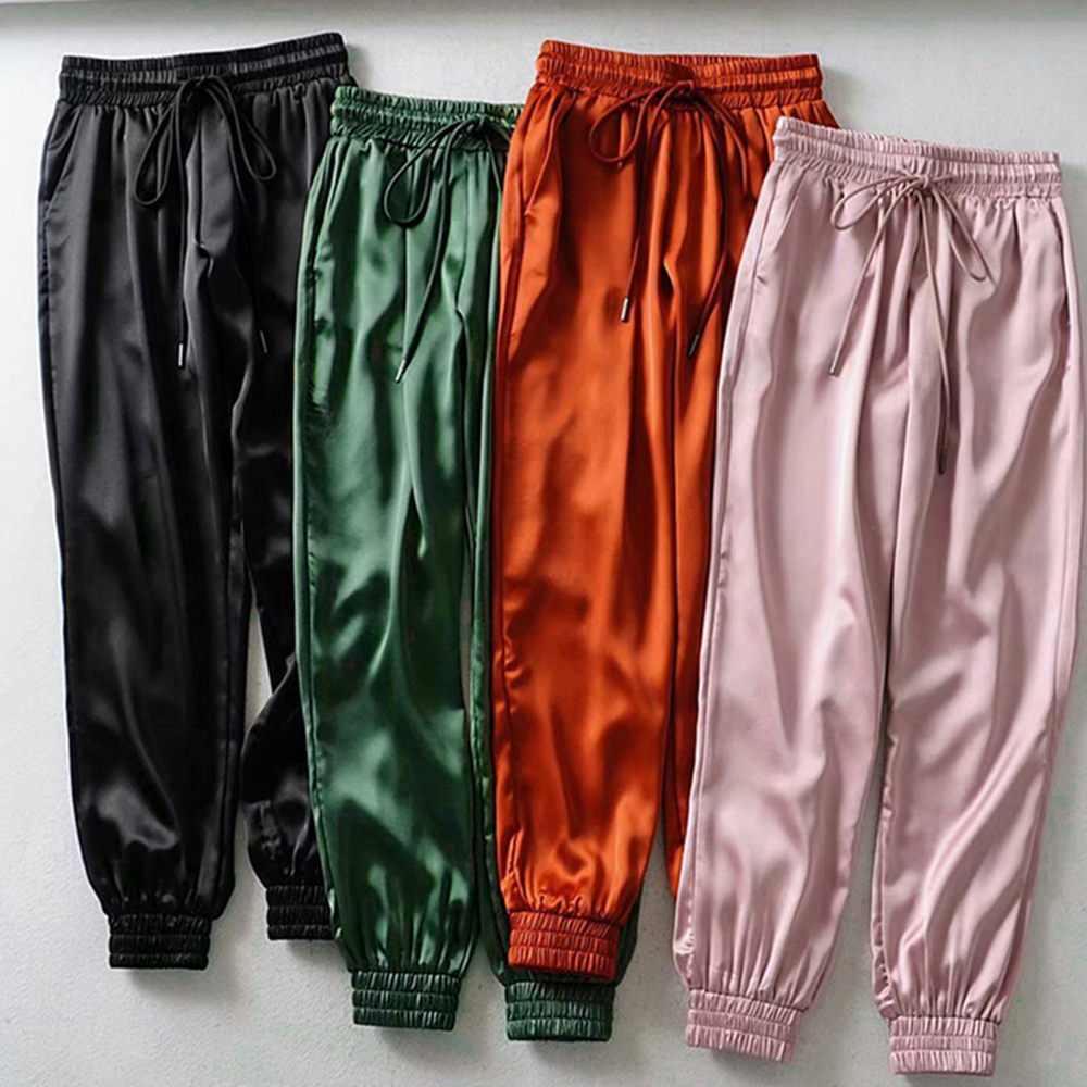 Puimentiua 2020 New Summer Satin Cargo Pants Women Europe Loose Casual Sport Women Joggers Streetwear Cargo Pants Women