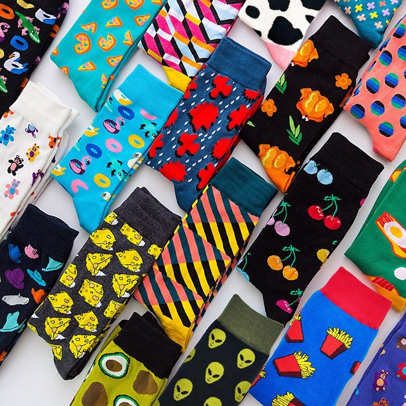 Calcetines felices de calidad para Hombre, Calcetines de algodón peinado con rayas a cuadros y diamantes, Calcetines de cereza para Hombre, 44 colores