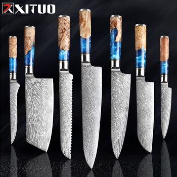 Kitchen Knives-Set Damascus Steel VG10, 1-7PCS set 1