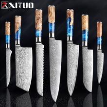 XITUO-Juego de cuchillos de cocina de acero damasco VG10, cuchillo de cocina de carnicero, pelado de pan, cuchillo de resina azul y mango de madera de Color, herramienta de cocina