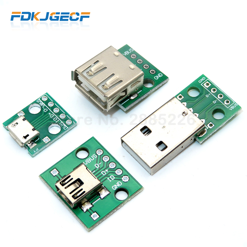 1 шт. Micro Mini USB Мужской USB 2,0 Женский USB разъем интерфейс для 2,54 мм DIP PCB конвертер адаптер Breakout Board