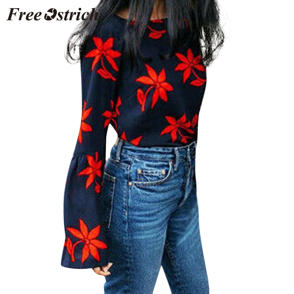 FREE OSTRICH Fashion women's round neck leaves flower print horn long sleeve sweater casual comfortable daily wild sweater 2020