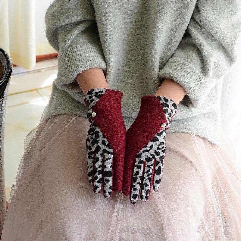 Leopard Splicing Gloves Ladies Elegant Fashion Autumn Winter Warm Temperature Slim Outdoor Riding Driving Touch Screen Gloves