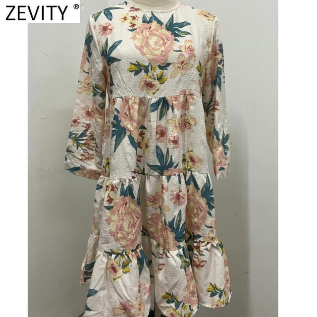 Elegant Flower Printing Pleated Ruffles Mini Dress Three Quarter Sleeve Kimono style 1
