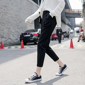 Image 2 - נשים מכנסיים פסים כיסי Loose דק קיץ קוריאני הרמון מכנסיים Harajuku נשים אלסטי מותניים מקרית חדש סגנון אופנה יומי
