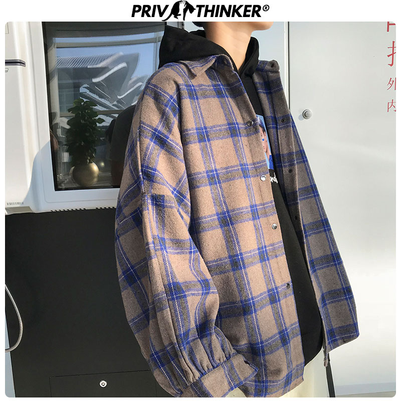 Privathinker Mens Harajuku Plaid Print Wool Coat Men 2019 Pockets Jacket Oversize Male Casual Thicken Warm Clothes Autumn Winter
