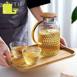 Oneisall vaso de água de vidro, jarra de água resistente ao calor com 1500ml, conjunto de chaleira quadrada para chá casa chaleira