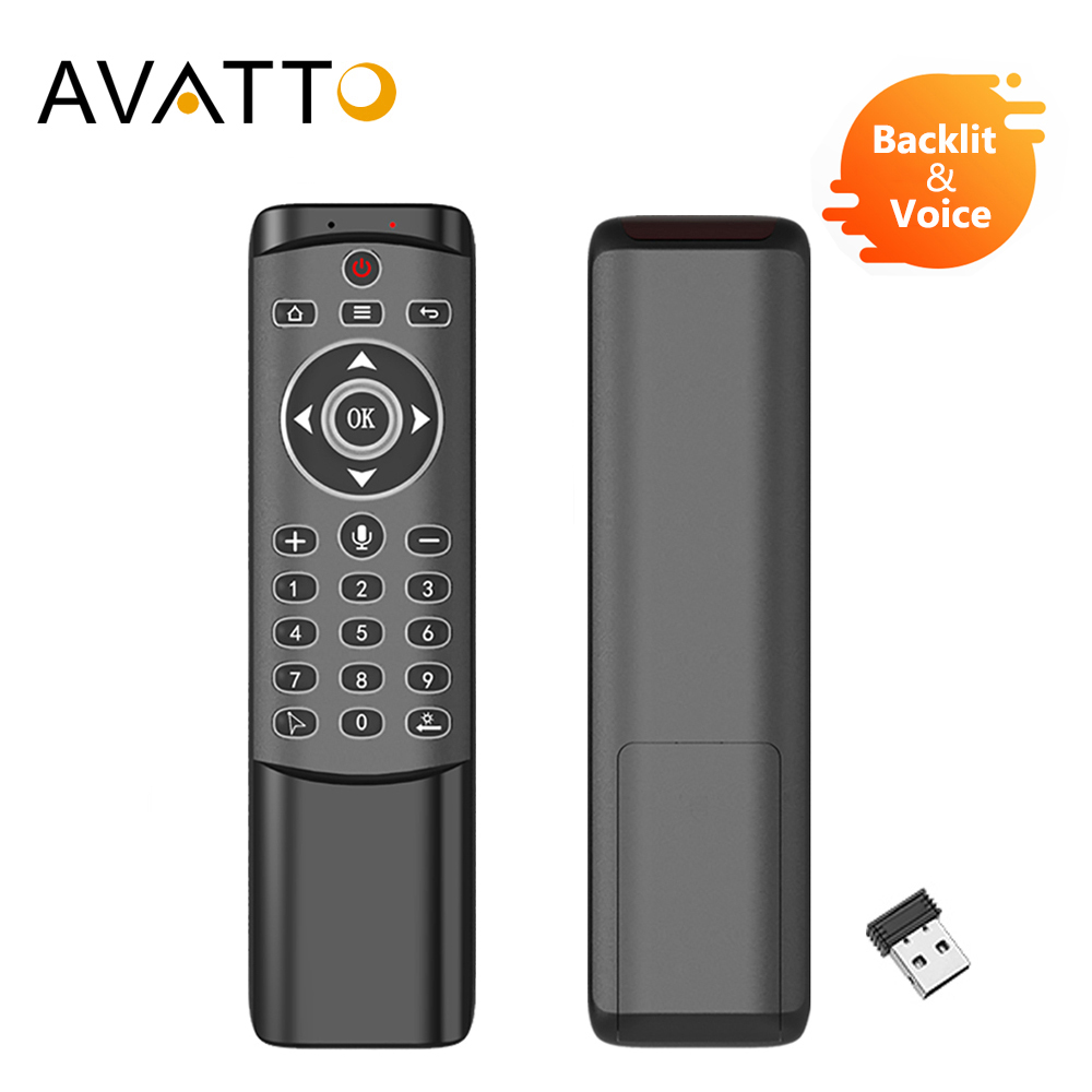 AVATTO Backlit Voice Air Mouse with 2.4GHz Wireless Microphone Remote Control with IR Learning 6-axis Gyroscope for Android Box