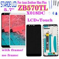 Para asus zenfone max plus m1 zb570tl x018dc x018d display lcd de toque digitador da tela sensor montagem vidro com quadro e ferramentas