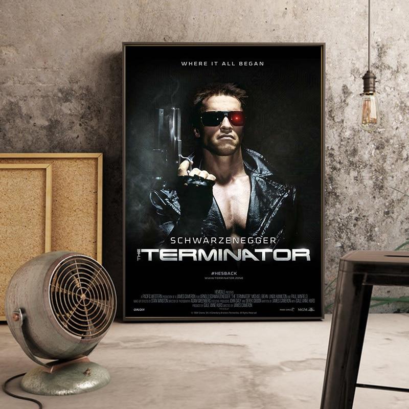 Рисунок по фильму «Терминатор», художественные постеры, Картина на холсте, постеры и принты, Настенная картина Cuadros для декора гостиной и до...