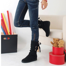 2019 Autumn New Women Fashion Boots Autumn Shoes With Lace-up Mid-calf Solid Flat Heels Pu Boots Mujer Shoes цены онлайн