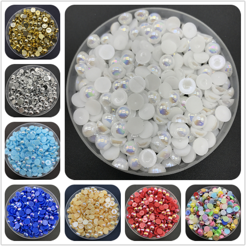 4mm 6mm 8mm 10mm ABS Half Round Pearl Bead Flat Back Scrapbook Beads For Jewelry Making Craft Pearls Clothing Accessories