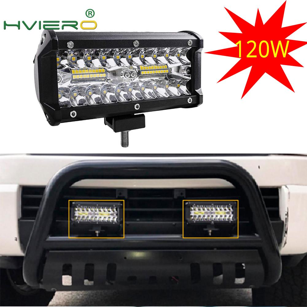 7Inch 120W Combo Led Light Bars Spot Flood Beam For Work Driving Offroad Boat Auto Tractor Truck 4x4 SUV ATV 12V 24V